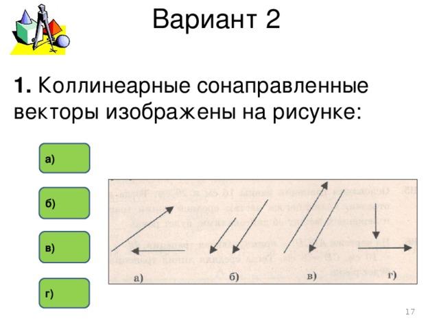 Вариант 2 1. Коллинеарные сонаправленные векторы изображены на рисунке: а) б) в) г)