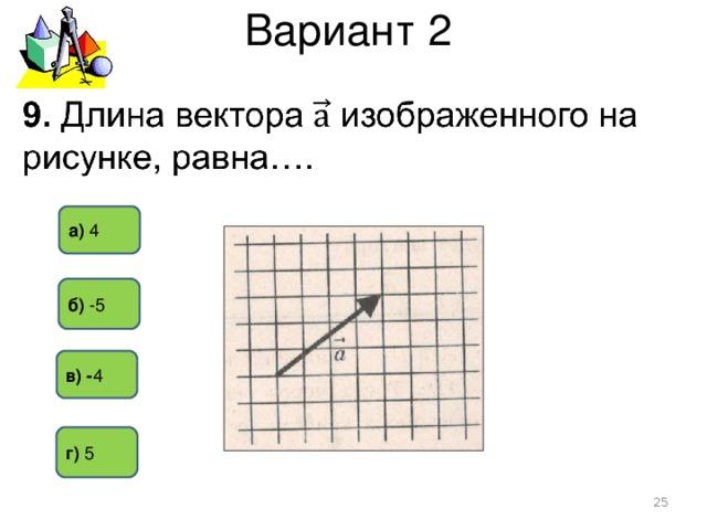 Вариант 2 а) 4 б) -5  в) - 4 г) 5