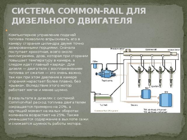 СИСТЕМА COMMON-RAIL ДЛЯ ДИЗЕЛЬНОГО ДВИГАТЕЛЯ