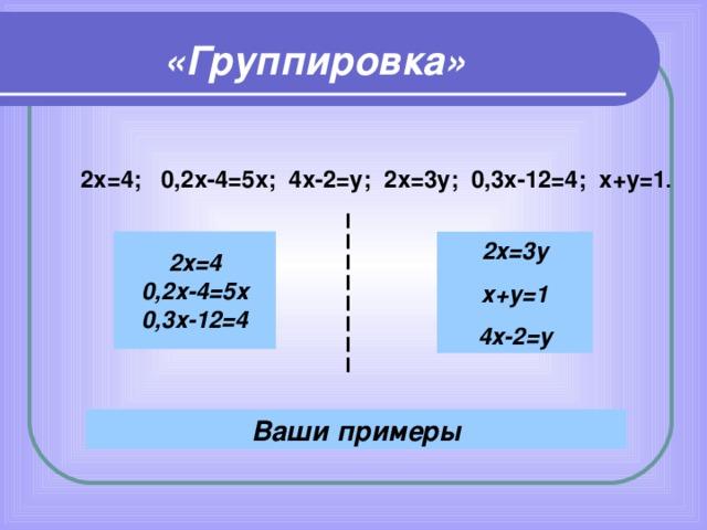 «Группировка» 2х=4; 0,2х-4=5х; 4х-2=у; 2х=3у; 0,3х-12=4; х+у=1 . 2х=4 0,2х-4=5х 0,3х-12=4 2х=3у х+у=1 4х-2=у Ваши примеры
