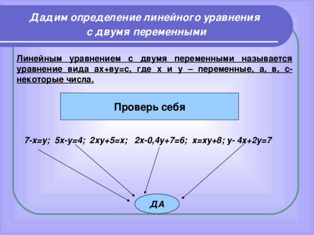 Дадим определение линейного уравнения с двумя  переменными Линейным уравнением с двумя переменными называется уравнение вида ах+ву=с, где х и у – переменные, а, в, с- некоторые числа. Проверь себя 7-х=у; 5х-у=4; 2ху+5=х; 2х-0,4у+7=6; х=ху+8; у- 4х+2у=7  ДА