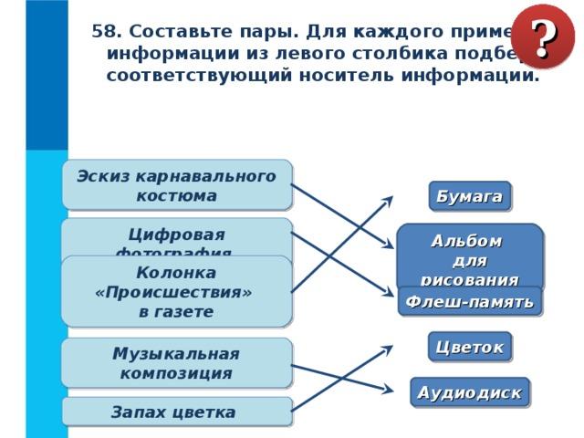 ? 58. Составьте пары. Для каждого примера информации из левого столбика подберите соответствующий носитель информации. Какие сведения вы храните в своей записной книжке? Как можно назвать записную книжку с точки зрения хранения информации? Перечислите достоинства и недостатки хранения информации в оперативной и долговременной памяти. Объясните своими словами, что такое носитель информации.  Какие носители информации вам известны?  Каким носителем информации вы пользуетесь чаще всего?  Эскиз карнавального костюма Бумага Цифровая фотография Альбом  для рисования Колонка «Происшествия»  в газете Флеш-память Цветок Музыкальная композиция Аудиодиск Запах цветка