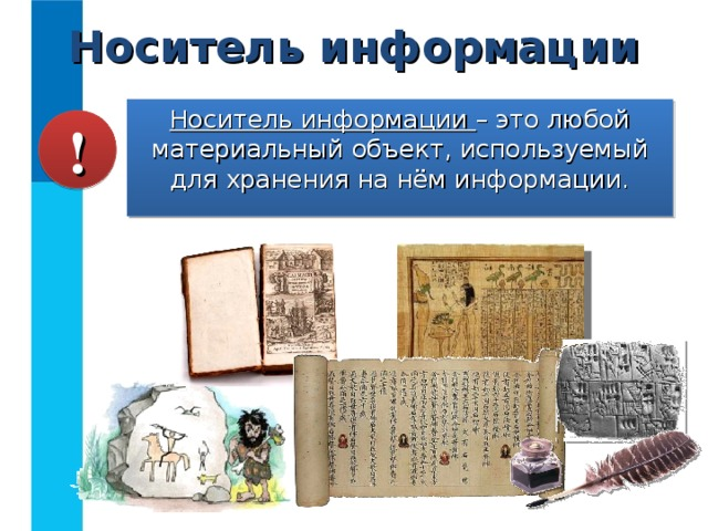 Носитель информации Носитель информации – это любой материальный объект, используемый для хранения на нём информации. !