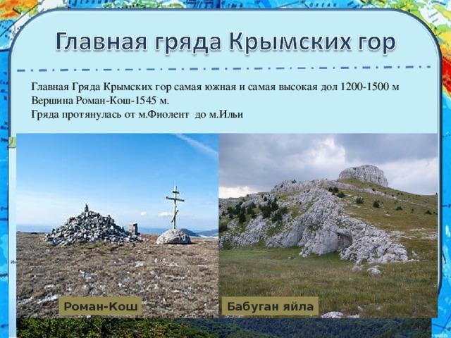 Главная Гряда Крымских гор самая южная и самая высокая дол 1200-1500 м Вершина Роман-Кош-1545 м. Гряда протянулась от м.Фиолент до м.Ильи Роман-Кош Бабуган яйла