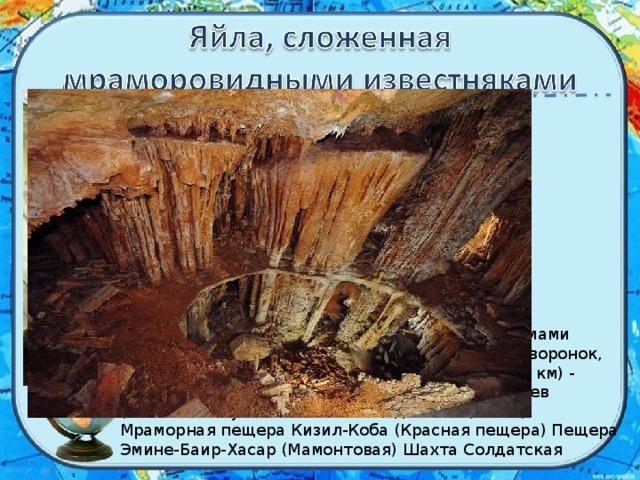 Данная территория изобилует карстовыми формами рельефа: здесь насчитывается 8500 карстовых воронок, более 850 пещер (пещера Кизил-Коба (более 25 км) - наибольшая по протяженности), шахт и колодцев (наиболее глубокая - шахта Солдатская (515 м). Мраморная пещера Кизил-Коба (Красная пещера) Пещера Эмине-Баир-Хасар (Мамонтовая) Шахта Солдатская
