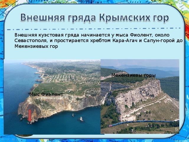 Внешняякуэстоваягряданачинается у мыса Фиолент, около Севастополя, и простирается хребтом Кара-Агач и Сапун-горой до Мекензиевых гор Мекензиевы горы Мыс Фиалент