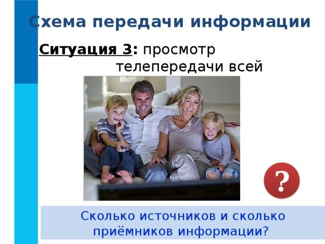 Схема передачи информации Ситуация 3 : просмотр телепередачи всей семьёй. ? Сколько источников и сколько приёмников информации?