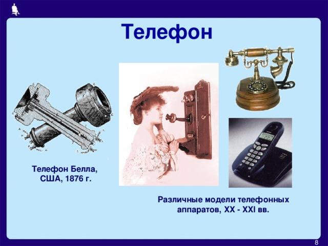 Телефон Телефон Белла,  США, 1876 г. Различные модели телефонных аппаратов, XX - XXI вв.