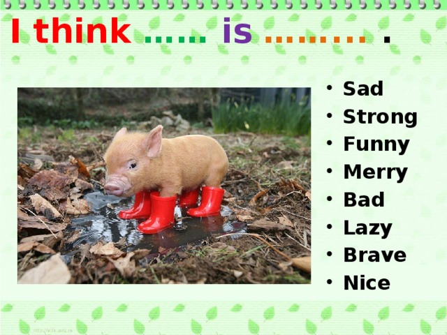 I think …… is  ……... . Sad Strong Funny Merry Bad Lazy Brave Nice