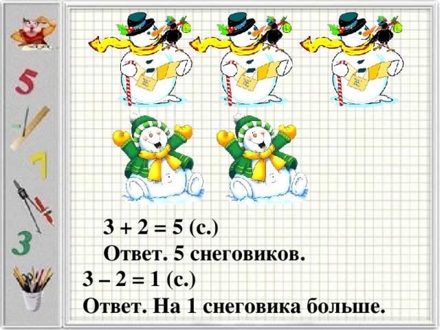 3 + 2 = 5 (с.) Ответ. 5 снеговиков. 3 – 2 = 1 (с.) Ответ. На 1 снеговика больше.