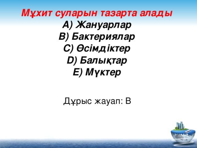 Мұхит суларын тазарта алады  A) Жануарлар  B) Бактериялар  C) Өсімдіктер  D) Балықтар  E) Мүктер     Дұрыс жауап: B