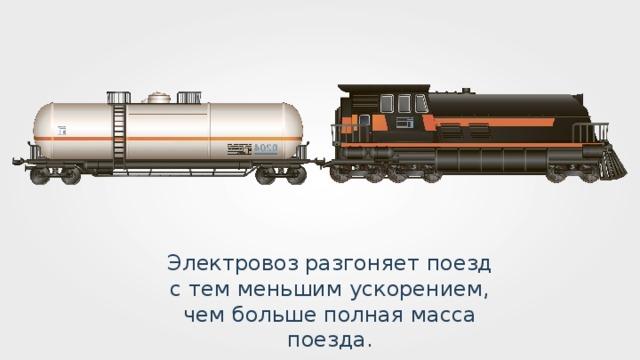 Электровоз разгоняет поезд с тем меньшим ускорением, чем больше полная масса поезда.