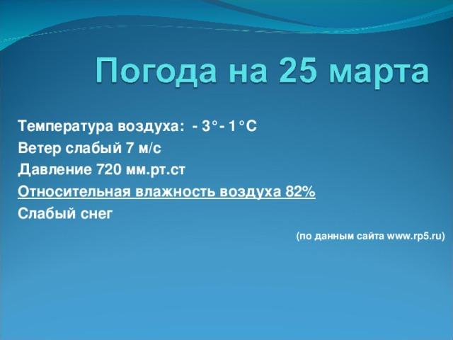 Температура воздуха: - 3°- 1° C Ветер слабый 7 м/с Давление 720 мм.рт.ст Относительная влажность воздуха 82% Слабый снег  (по данным сайта www.rp5.ru)