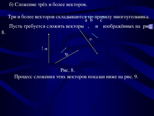 б) Сложение трёх и более векторов.  Три и более векторов складываются по правилу многоугольника.  Пусть требуется сложить векторы ,  и изображённых на рис. 8. a  b  с b a с Рис. 8.  Процесс сложения этих векторов показан ниже на рис. 9.
