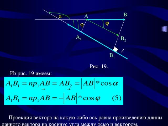 l B a A   A 1 B 2 B 1 Рис. 19.  Из рис. 19 имеем:    Проекция вектора на какую-либо ось равна произведению длины данного вектора на косинус угла между осью и вектором.