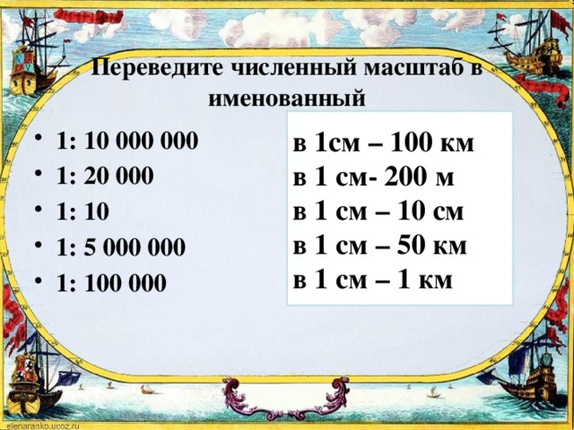 Переведите численный масштаб в именованный в 1см – 100 км в 1 см- 200 м в 1 см – 10 см в 1 см – 50 км в 1 см – 1 км