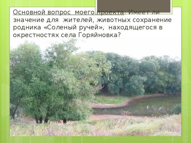 Основной вопрос моего проекта : Имеет ли значение для жителей, животных сохранение родника «Соленый ручей», находящегося в окрестностях села Горяйновка?