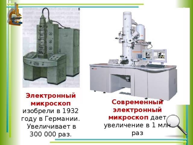 Электронный микроскоп изобрели в 1932 году в Германии.  Увеличивает в 300 000 раз. Современный электронный микроскоп дает увеличение в1 млн раз