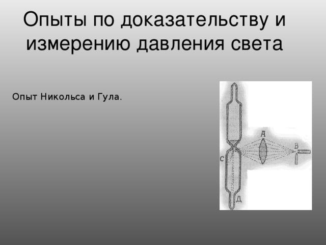 Опыты по доказательству и измерению давления света Опыт Никольса и Гула.
