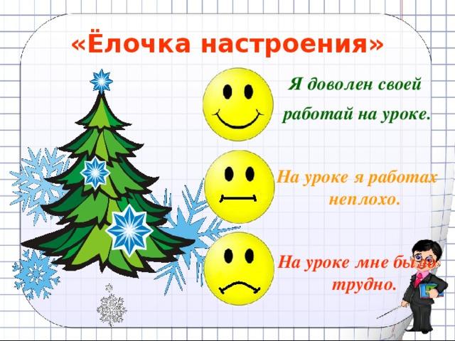 «Ёлочка настроения» Я доволен своей работай на уроке.   На уроке я работах неплохо.   На уроке мне было трудно.