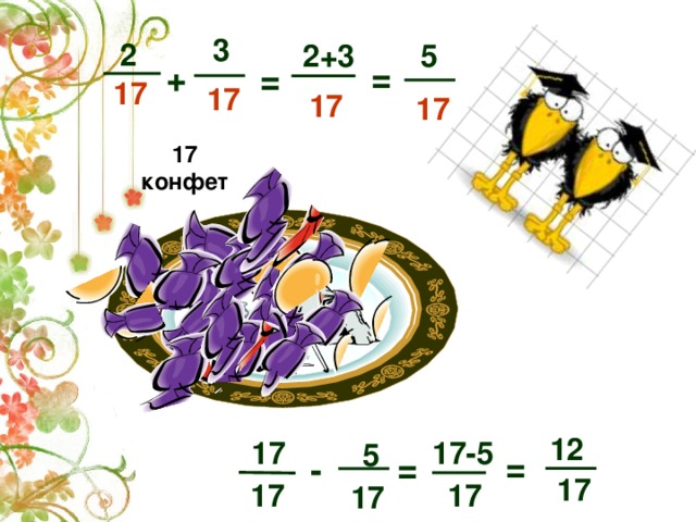 3  2 2+3 5 =  + =  17  17 17 17 17 конфет  12  17-5  17  5 =  = -  17  17  17   17