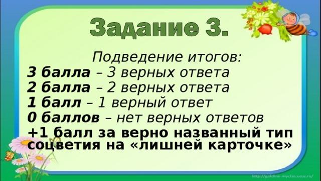 Подведение итогов: 3 балла – 3 верных ответа 2 балла – 2 верных ответа 1 балл – 1 верный ответ 0 баллов – нет верных ответов +1 балл за верно названный тип соцветия на «лишней карточке»
