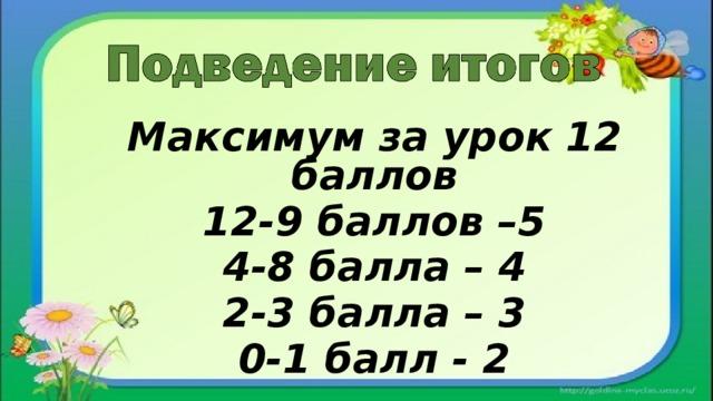 Максимум за урок 12 баллов 12-9 баллов –5 4-8 балла – 4 2-3 балла – 3 0-1 балл - 2