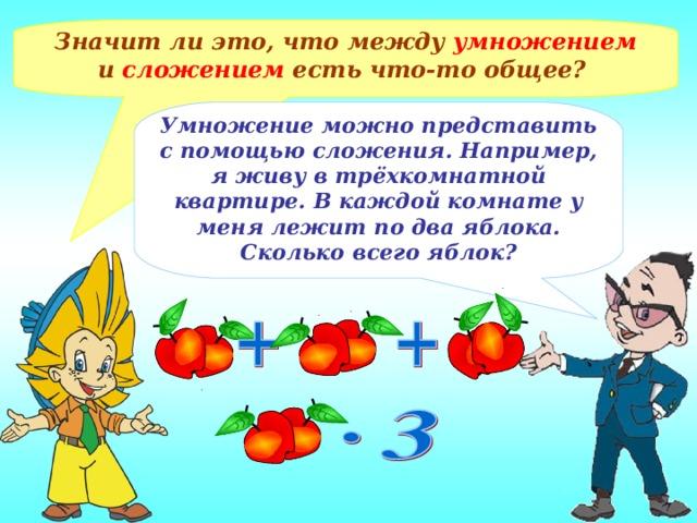 Значит ли это, что между умножением и сложением есть что-то общее? Умножение можно представить с помощью сложения. Например, я живу в трёхкомнатной квартире. В каждой комнате у меня лежит по два яблока. Сколько всего яблок?