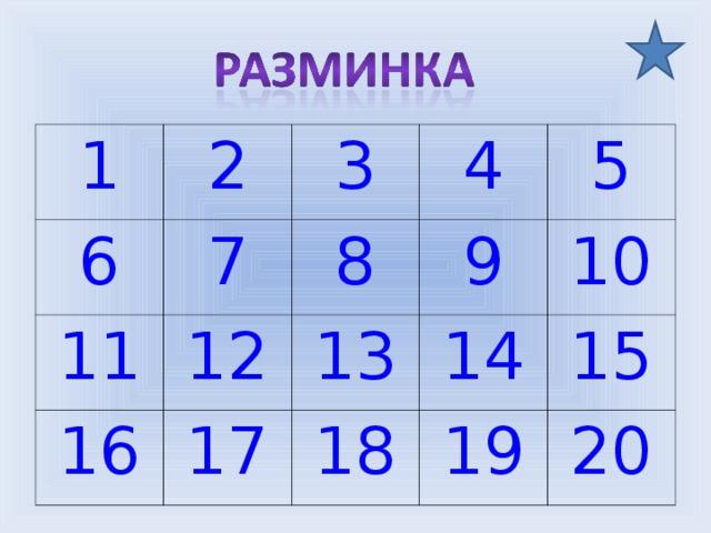 1 2 6 11 7 3 4 12 8 16 9 5 17 13 14 10 18 15 19 20