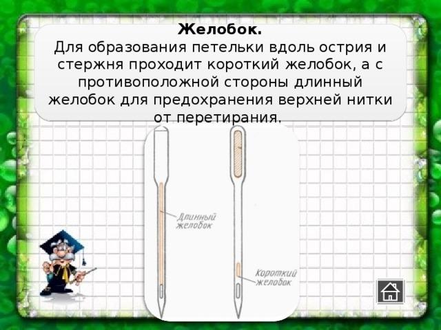 Желобок. Для образования петельки вдоль острия и стержня проходит короткий желобок, а с противоположной стороны длинный желобок для предохранения верхней нитки от перетирания.