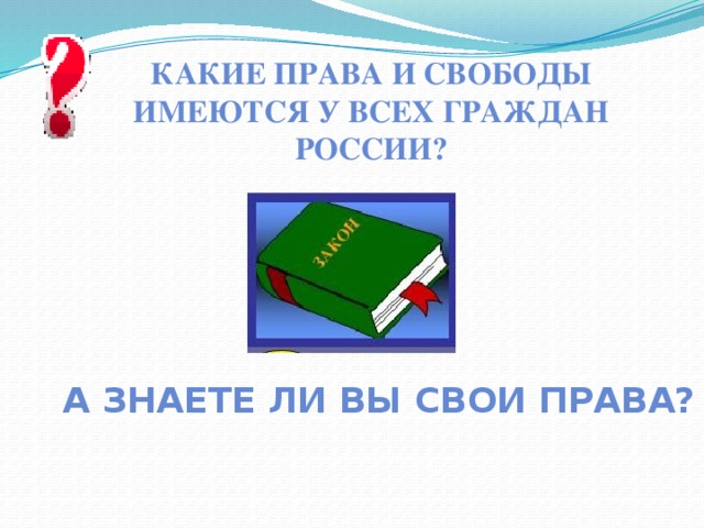 Какие права и свободы имеются у всех граждан России? А знаете ли вы свои права?