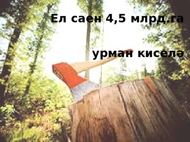 Ел саен 4,5 млрд.га урман киселә