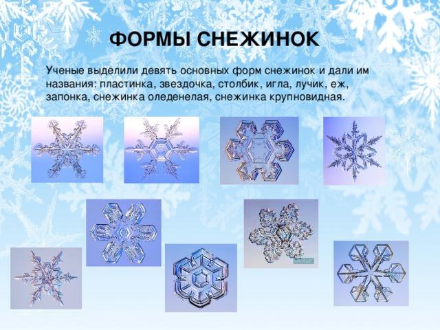 ФОРМЫ СНЕЖИНОК Ученые выделили девять основных форм снежинок и дали им названия: пластинка, звездочка, столбик, игла, лучик, еж, запонка, снежинка оледенелая, снежинка крупновидная.