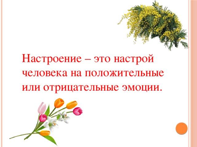 Настроение – это настрой человека на положительные или отрицательные эмоции.