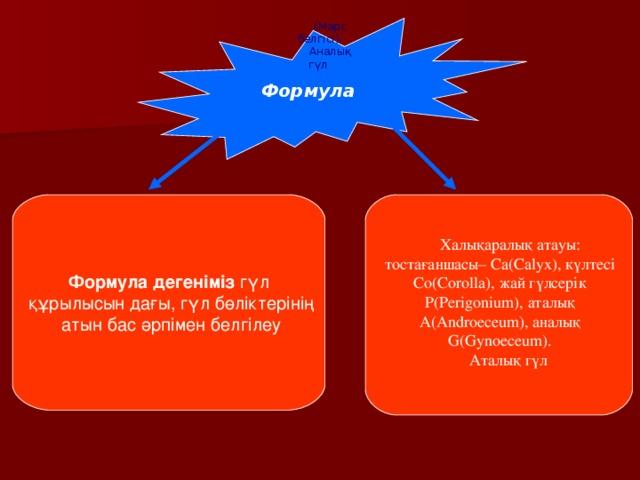 Формула (Марс белгісі). Аналық гүл Формула дегеніміз гүл  құрылысын дағы, гүл бөліктерінің  атын бас әрпімен белгілеу Халықаралық атауы: тостағаншасы– Са(Саlyx), күлтесі Со(Соrolla), жай гүлсерік Р(Реrіgonіum), аталық А(Аndroeceum), аналық G(Gynoeceum). Аталық гүл