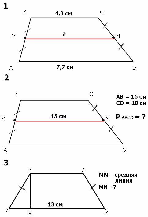 Средняя линия трапеции задачи решение примеры решения задач на циклы