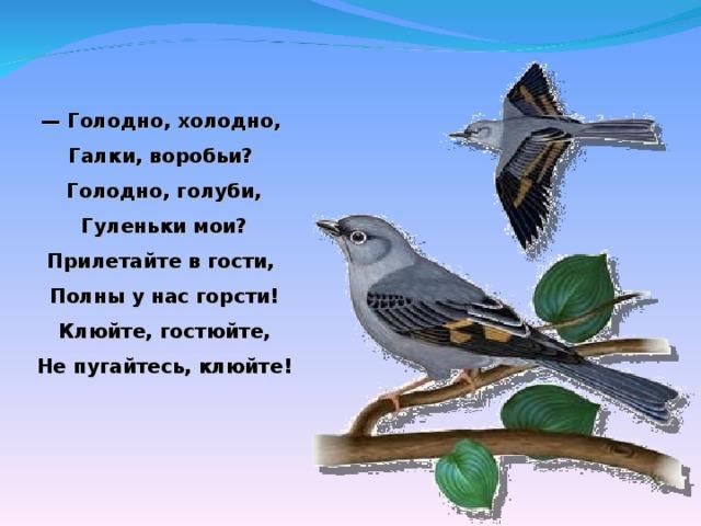 — Голодно, холодно,  Галки, воробьи?  Голодно, голуби,  Гуленьки мои?  Прилетайте вгости,  Полны унас горсти!  Клюйте, гостюйте,  Непугайтесь, клюйте!