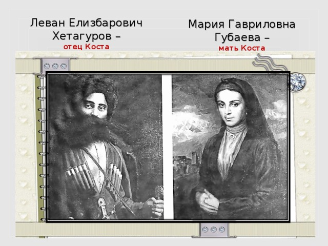 Леван Елизбарович  Хетагуров –  отец Коста Мария Гавриловна  Губаева – мать Коста