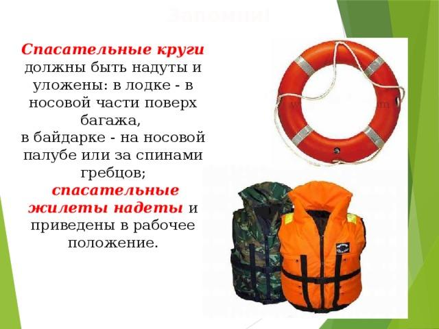 Запомни! Спасательные круги должны быть надуты и уложены: в лодке - в носовой части поверх багажа, в байдарке - на носовой палубе или за спинами гребцов;  спасательные жилеты надеты и приведены в рабочее положение.