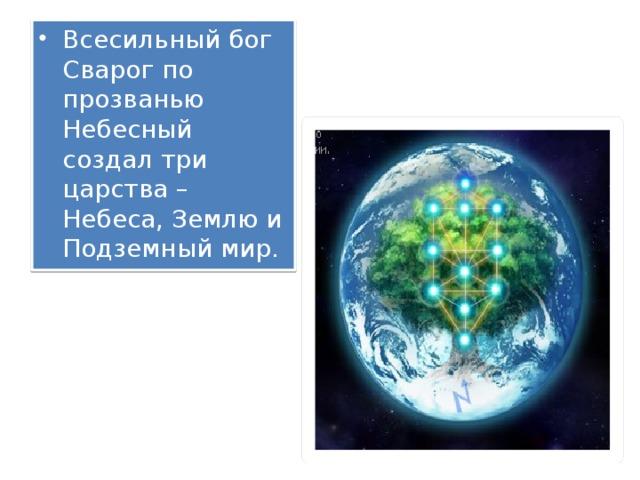 Всесильный бог Сварог по прозванью Небесный создал три царства – Небеса, Землю и Подземный мир.