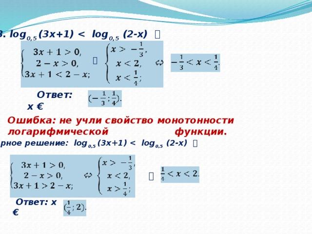 3. log 0,5 (3х+1)  0,5 (2-х)      Ответ: х € Ошибка: не учли свойство монотонности логарифмической функции.  Верное решение: log 0,5 (3х+1)  0,5 (2-х)       Ответ: х €