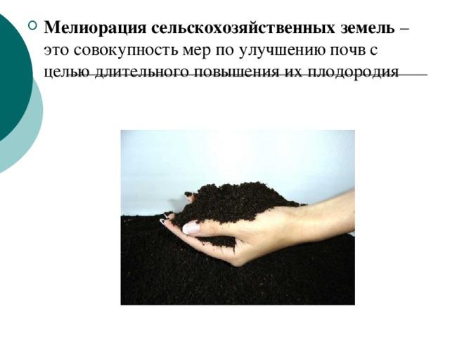 Мелиорация сельскохозяйственных земель – это совокупность мер по улучшению почв с целью длительного повышения их плодородия