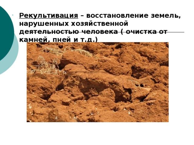 Рекультивация – восстановление земель, нарушенных хозяйственной деятельностью человека ( очистка от камней, пней и т.д.) Рекультивация