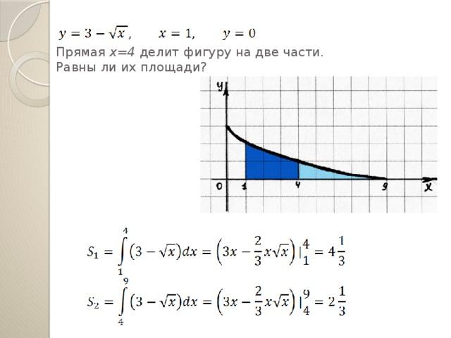 Прямая х=4 делит фигуру на две части.  Равны ли их площади?
