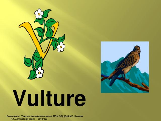 Vulture Выполнила: Учитель английского языка МОУ БС(п)ОШ №3 Кондик Л.А., Алтайский край: 2010год