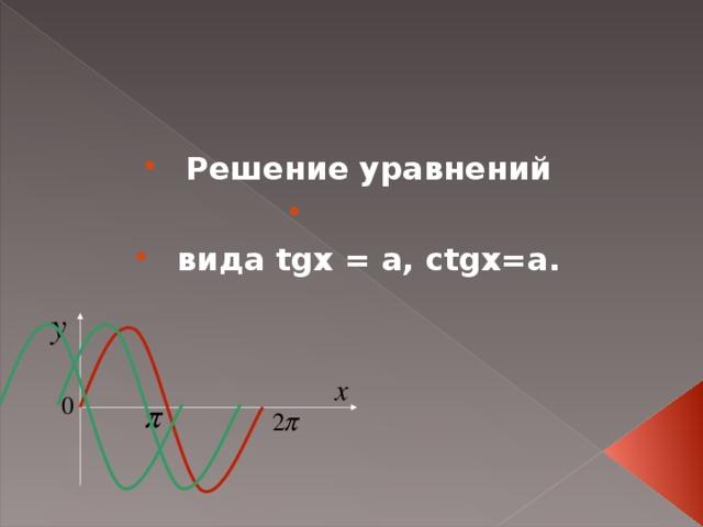 Решение уравнений   вида tgx = a, ctgx=a .